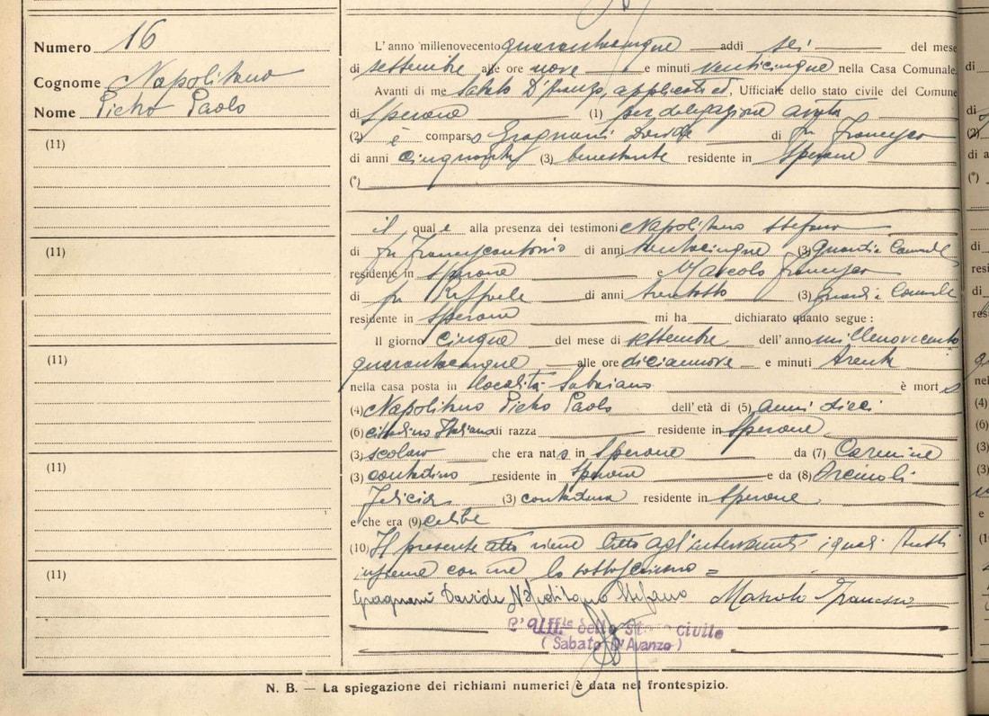 SPERONE, 5 Settembre 1945, La strage degli innocenti. Sette bimbi muoiono con lo scoppio di una bomba. Un giorno da ricordare
